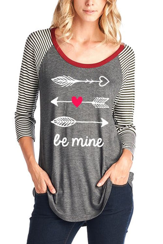 Be Mine Tee with Striped Sleeves- Brand New