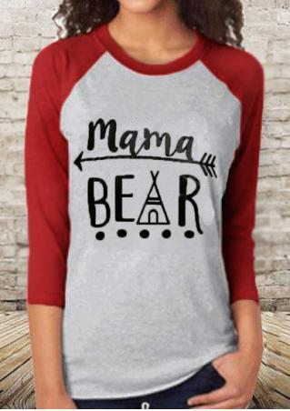 Mama Bear Tee Red Sleeves- Brand New