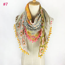 Summer Scarf- Floral Yellow, Coral & Gray