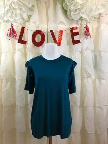 Exclusive Ruffle Shoulder Tee in teal size Medium