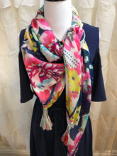 Summer Scarf- Navy, Pink & Yellow Floral