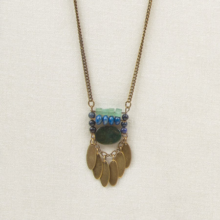 Stone Ladder Necklace Blue