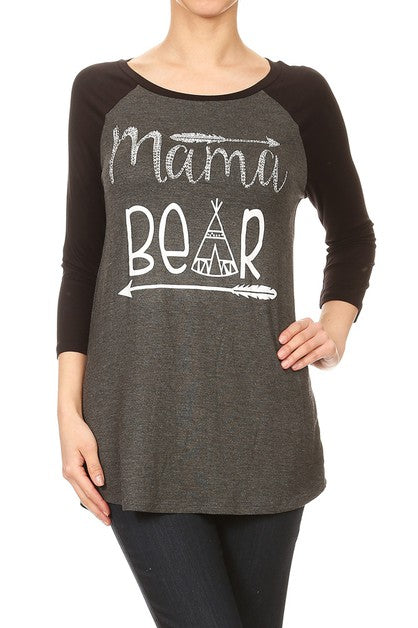 Mama Bear Baseball Tee with Bling- Brand New