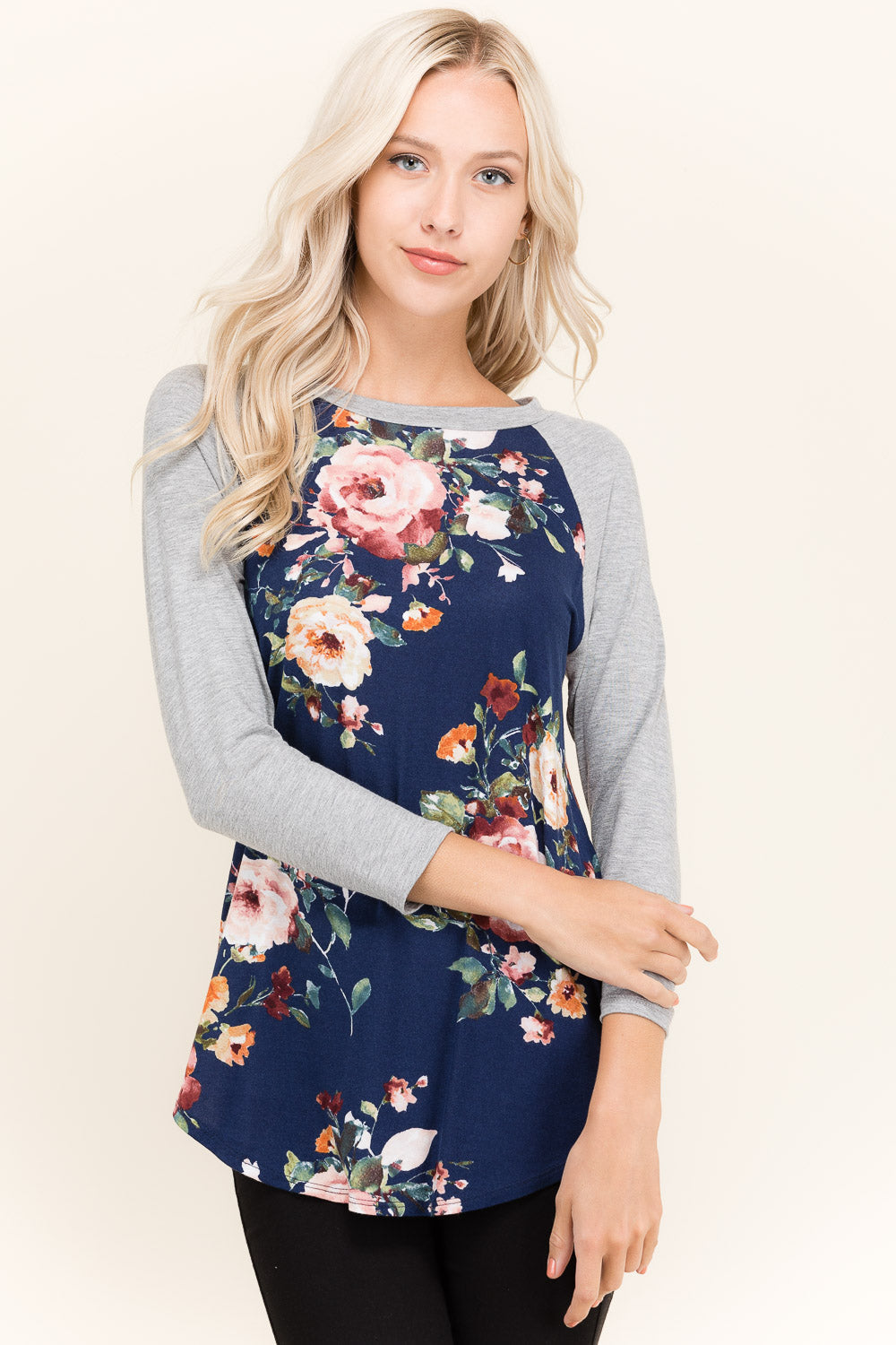 Floral Baseball Tee with Gray Sleeves- Brand New
