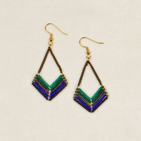 Beaded chevron chain earrings blue