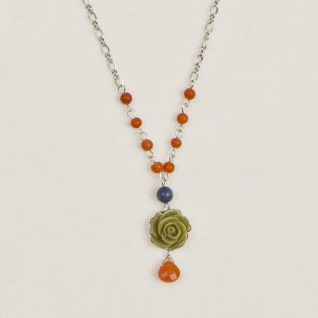 Beaded Flower Pendant Necklace Olive, Blue & Butterscotch