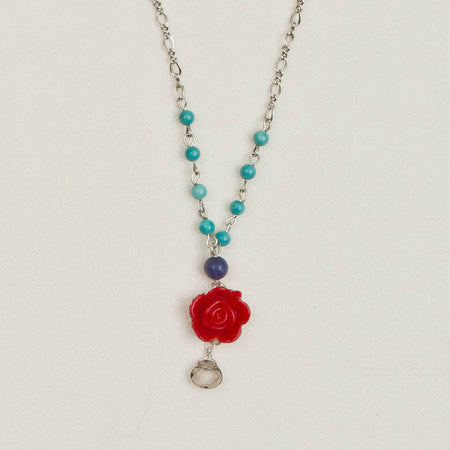 Beaded Flower Pendant Necklace Red & Teal