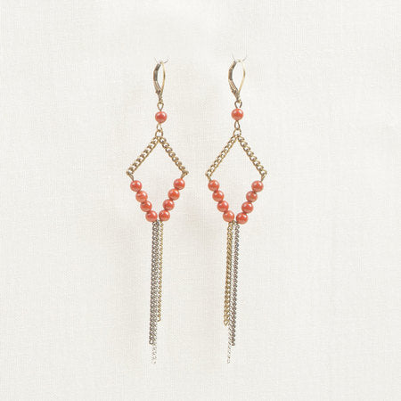 Bronze Stone & chain earrings red