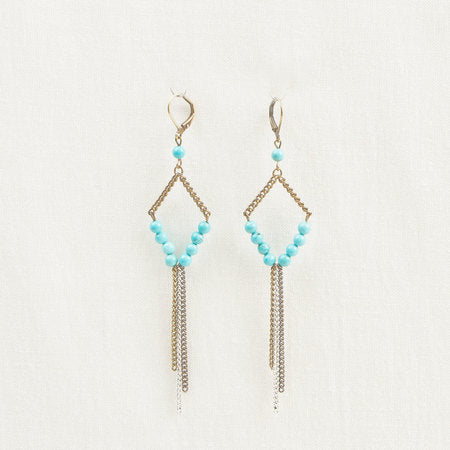 Bronze Stone & chain earrings turquoise