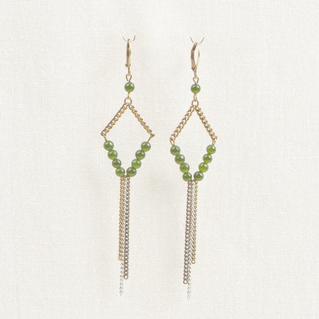 Bronze Stone & chain earrings green