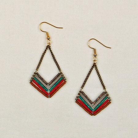 Beaded chevron chain earrings red gray
