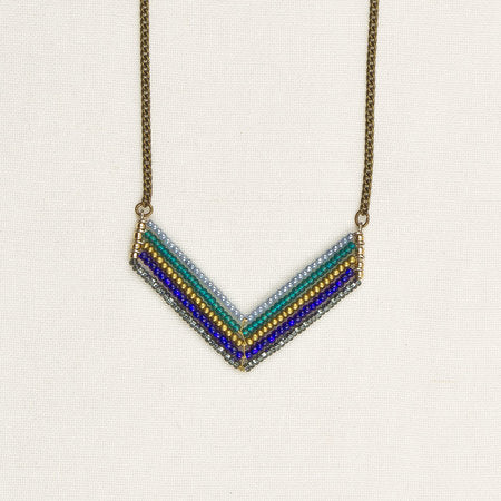 Beaded chevron necklace blue