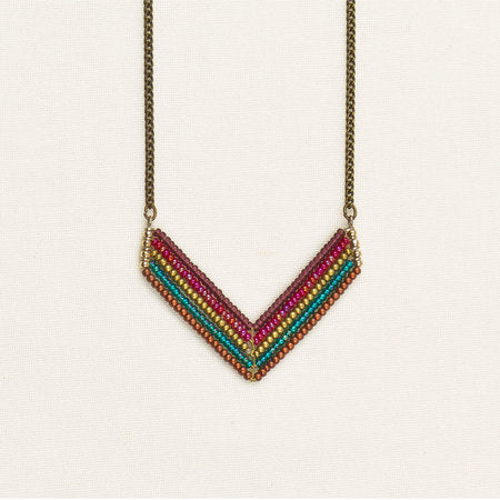 Beaded chevron necklace multicolor