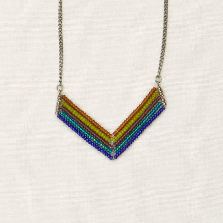 Beaded chevron necklace blue & green
