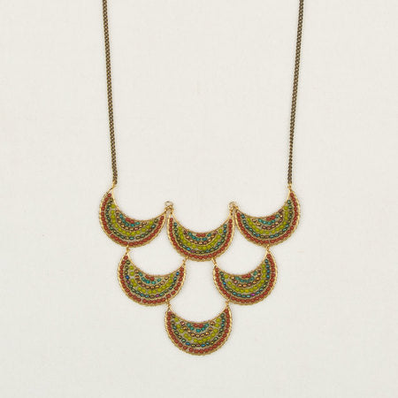 Crescent moon necklace green