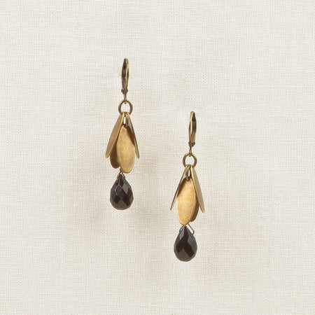 Metal Leaves with Stone Drop Earrings Black