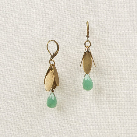 Metal Leaves with Stone Drop Earrings green