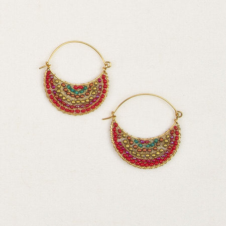Crescent moon beaded earrings multi color
