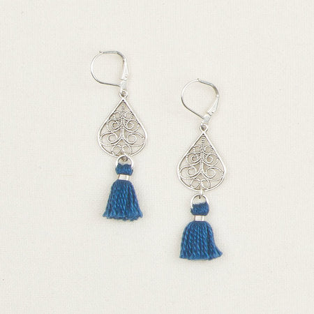 Filigree Earrings with Tassels Blue