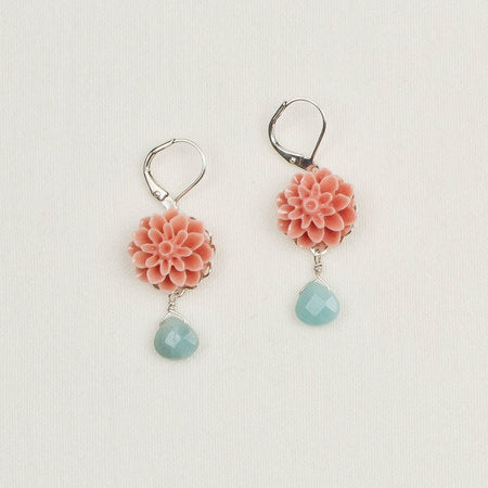 Flower earrings coral
