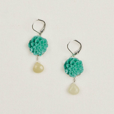 Flower earrings turquoise