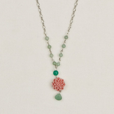 Beaded Flower Pendant Necklace Coral & Mint