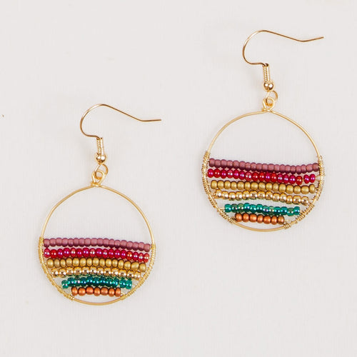 Small Hoop Beaded Earrings in Moroccan Multi