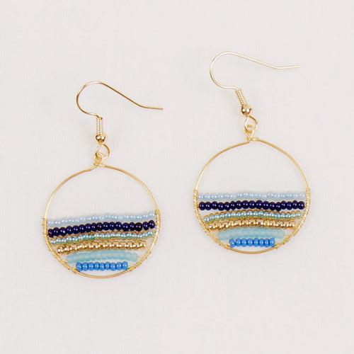 Small Hoop Beaded Earrings in Marine