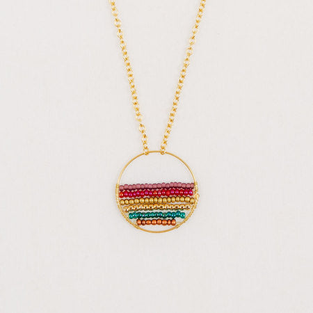 Gold Hoop Beaded Necklace in Moroccan Multi