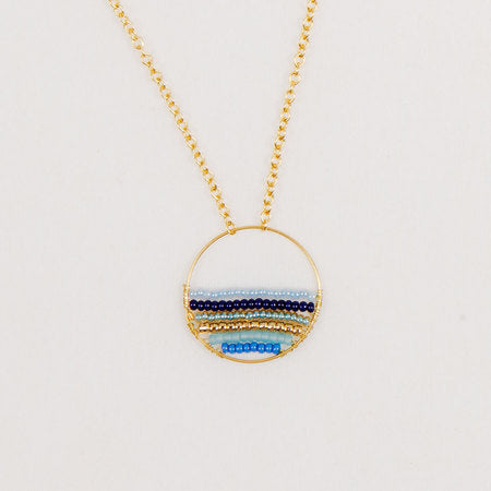 Gold Hoop Beaded Necklace in Marine Blue