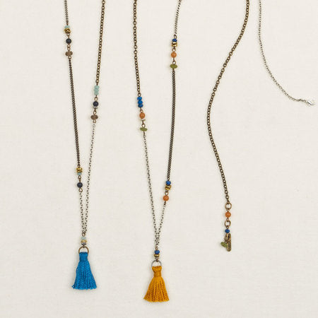 Long Stone & Tassel Necklace in Blue