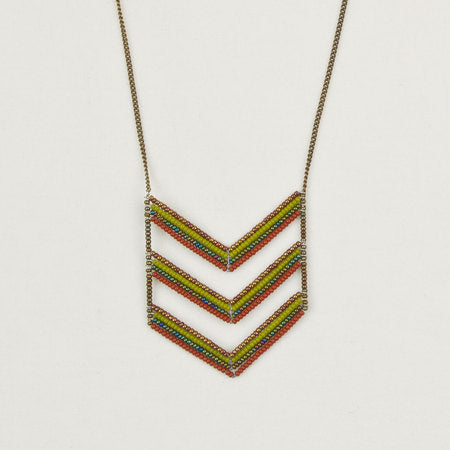 Long triple chevron necklace green