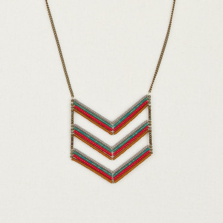 Long triple chevron necklace red & teal