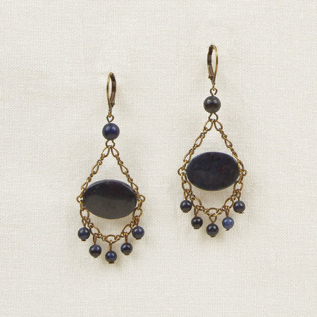 Oval stone fringe earrings