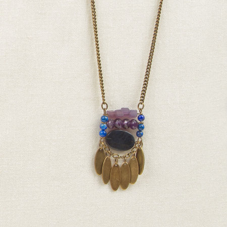Stone Ladder Necklace Purple