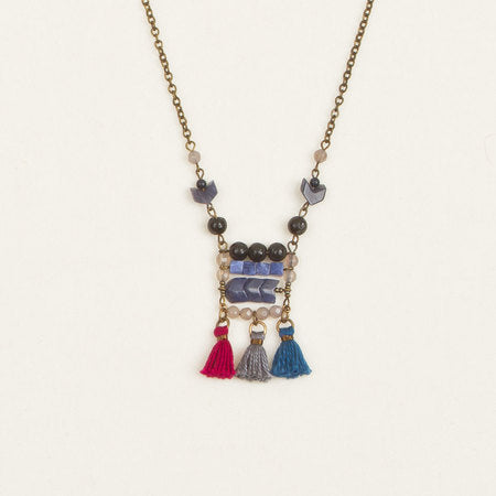 Stone & tassel necklace blue