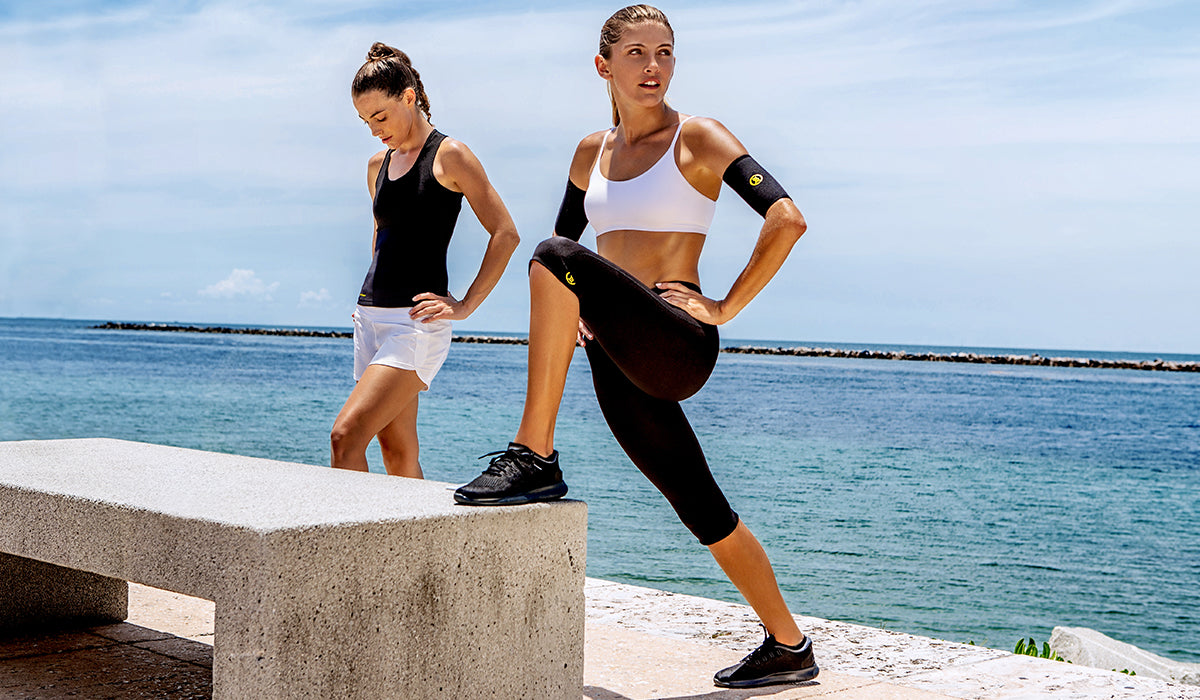 We like to wear our Hot Shapers Capri Pants or Hot Arm Sleeves