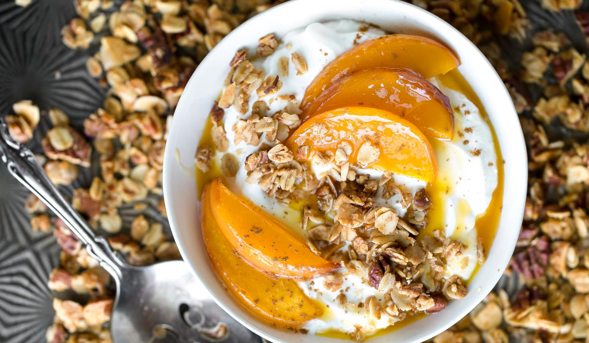 ROASTED PEACH YOGURT BOWL