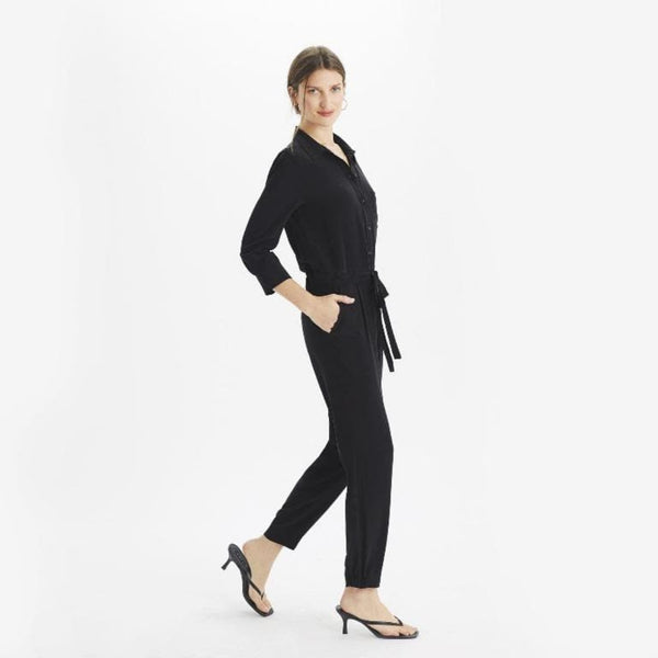The Reset Dress Black / XS Silk ¾ Sleeve Jumpsuit