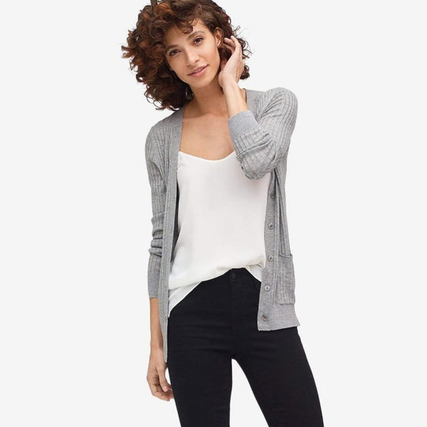 The Reset sale Ice Grey / XS Ribbed Pocket Cardigan