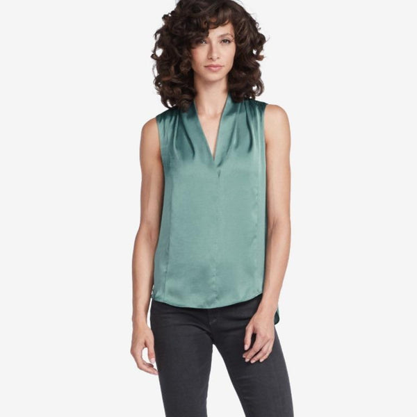 The Reset sale Seafoam / XS Satin Drape V Tank