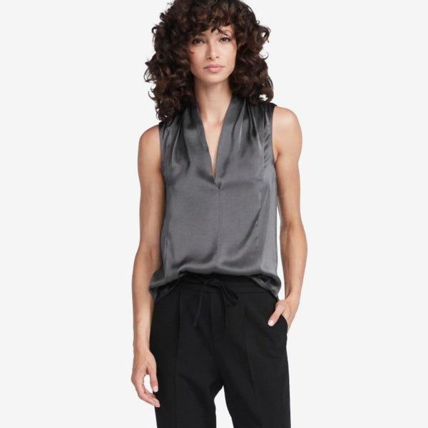 The Reset sale Smoke / XS Satin Drape V Tank