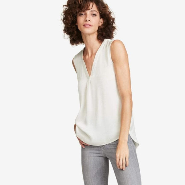 The Reset sale Ivory / XS Satin V Tank