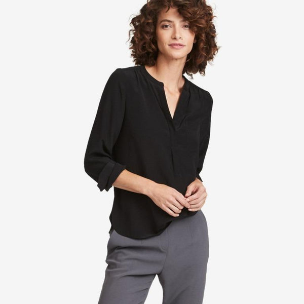 The Reset sale Black / XS Silk Pocket Tunic