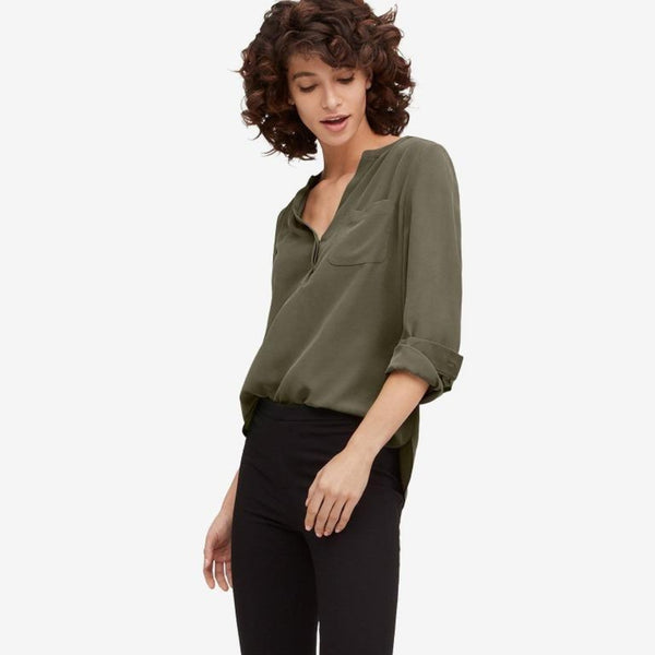 The Reset sale Olive / XS Silk Pocket Tunic
