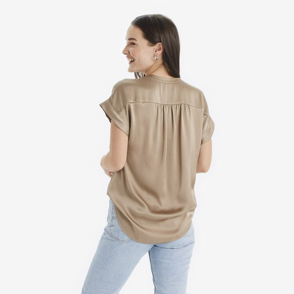 The Reset Tops Satin Short Sleeve Tunic