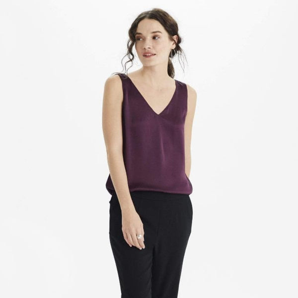 The Reset Tops Plum / XS Satin V Shell