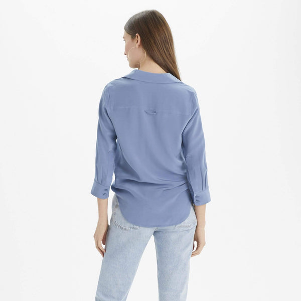 The Reset Tops Silk 3/4 Sleeve Collar Shirt