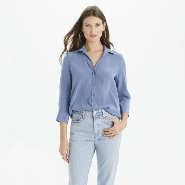 The Reset Tops Coastal Blue / XS Silk 3/4 Sleeve Collar Shirt