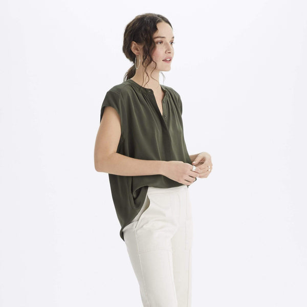 The Reset Tops Silk Cap Sleeve Tunic
